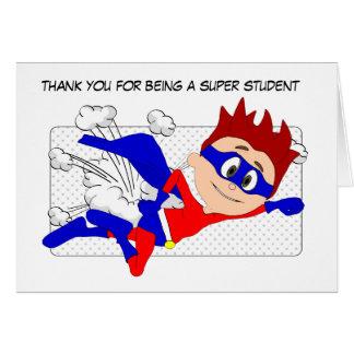Tarjeta de estudiante estupenda, gracias de profes