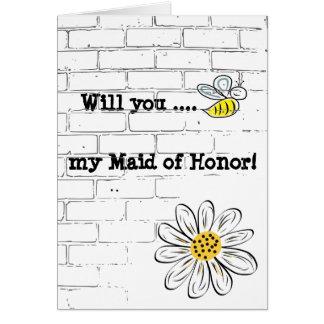 Tarjeta de felicitación, abeja estándar mi criada