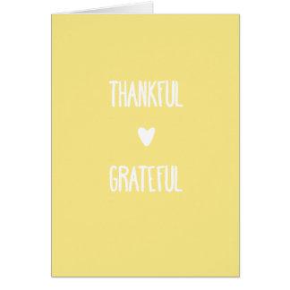 Tarjeta de felicitación agradecida y agradecida de