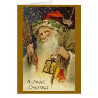 Tarjeta de felicitación alegre de Santa del