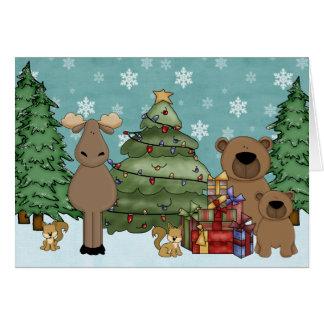 Tarjeta de felicitación animal del navidad del