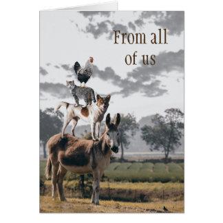 Tarjeta de felicitación animal divertida del grupo