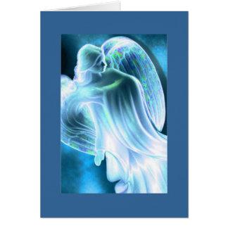 Tarjeta de felicitación azul clara del ángel