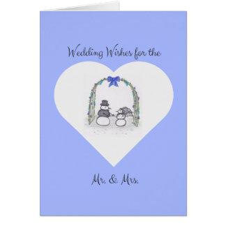 Tarjeta de felicitación azul claro en blanco del
