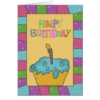Tarjeta de felicitación azul del feliz cumpleaños
