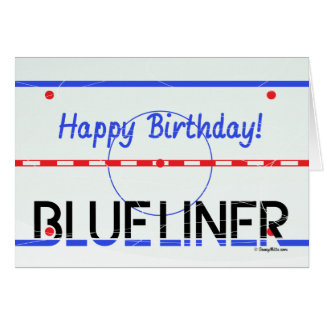 Tarjeta de felicitación azul del hockey del