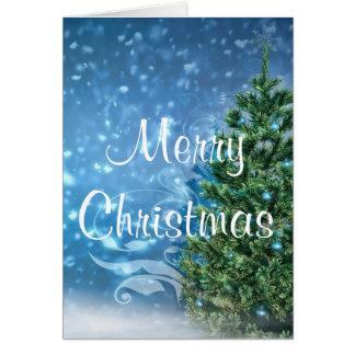 Tarjeta de felicitación azul del navidad
