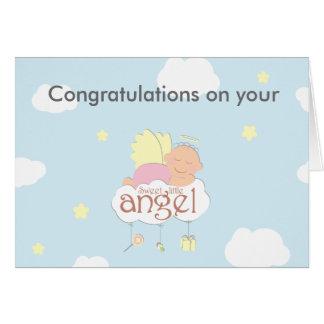 Tarjeta de felicitación azul del pequeño ángel
