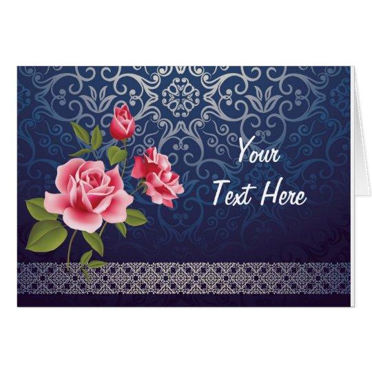 Tarjeta de felicitación azul del vintage clásico