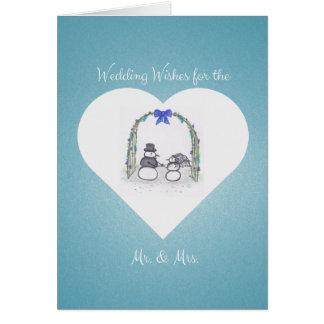 Tarjeta de felicitación azul en blanco del boda