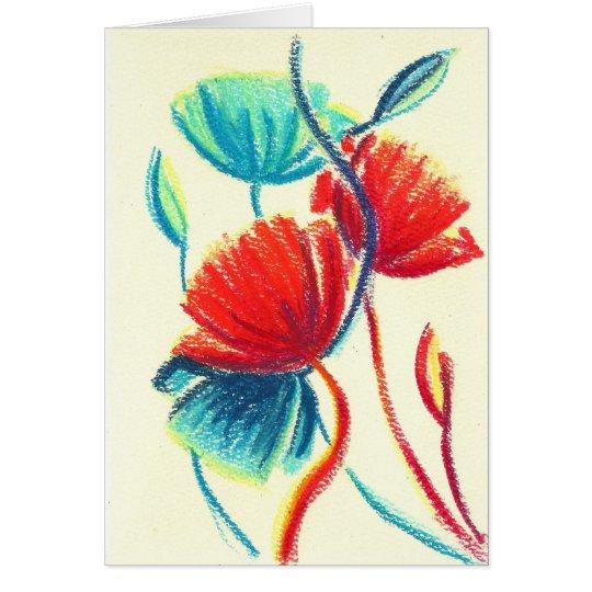 Tarjeta de felicitación azul roja de las amapolas