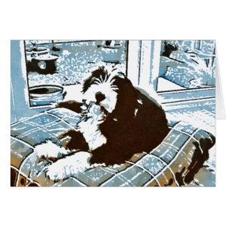 Tarjeta de felicitación barbuda del perrito del
