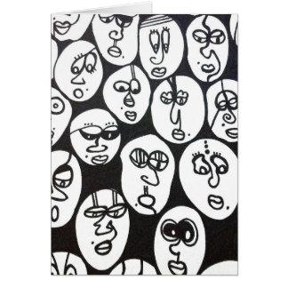 Tarjeta de felicitación blanco y negro de la cara