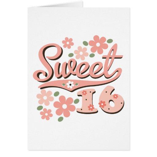 Tarjeta de felicitación bonita del dulce 16 del pé