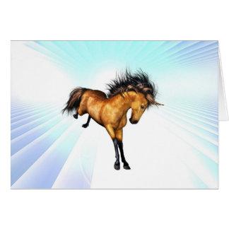 Tarjeta de felicitación Bucking del unicornio