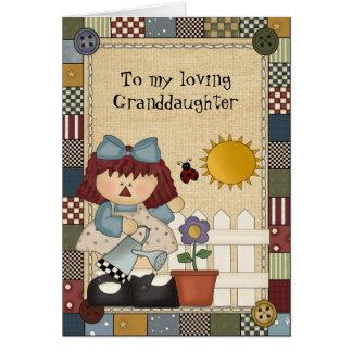 Tarjeta de felicitación cariñosa de la nieta