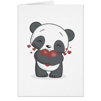 Tarjeta de felicitación cariñosa de la panda