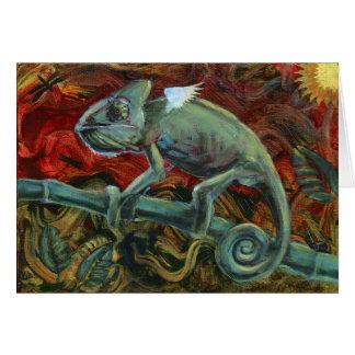 Tarjeta de felicitación carismática del camaleón