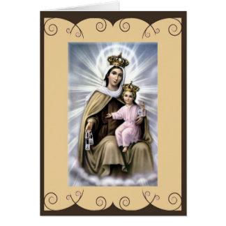 Tarjeta de felicitación católica del santo nuestra