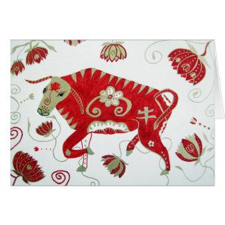 Tarjeta de felicitación china del buey del zodiaco