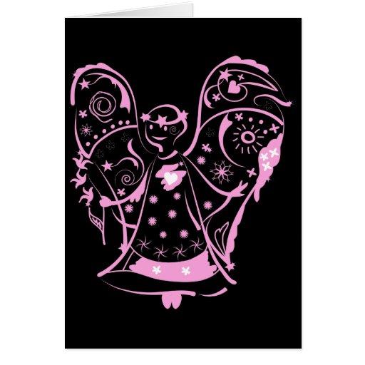Tarjeta de felicitación con ángel decorativo