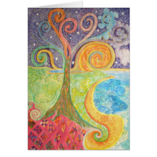 Tarjeta de felicitación con diseño colorido de la