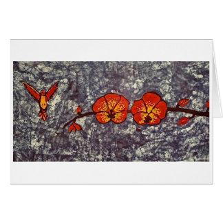 Tarjeta de felicitación con el batik del colibrí