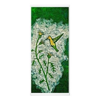 Tarjeta de felicitación con el batik del colibrí invitación 10,1 x 23,5 cm