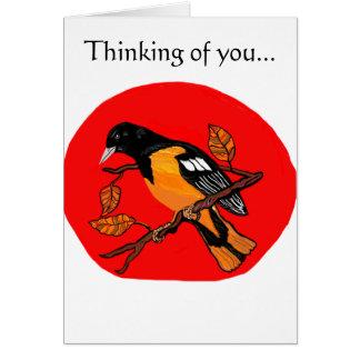 tarjeta de felicitación con el pájaro magnífico