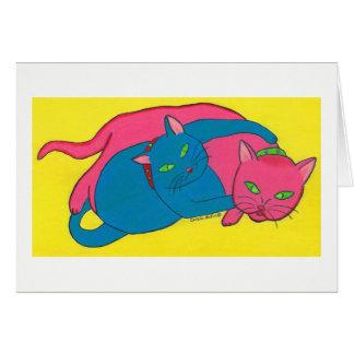 Tarjeta de felicitación con los gatos
