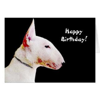 Tarjeta de felicitación de bull terrier del feliz