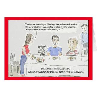 Tarjeta Tarjeta de felicitación de cocinar divertida del
