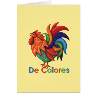 Tarjeta de felicitación de De Colores con letras y