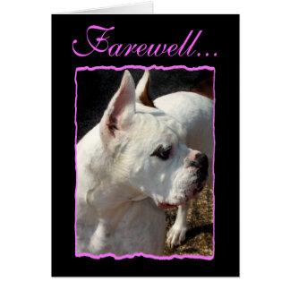 Tarjeta de felicitación de despedida del perro del