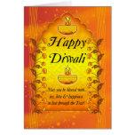 Tarjeta de felicitación de Diwali con las lámparas