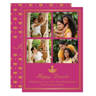 Tarjeta de felicitación de Diya Diwali - color de