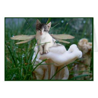 Tarjeta de felicitación de hadas del gatito