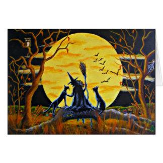 Tarjeta de felicitación de Halloween, bruja,