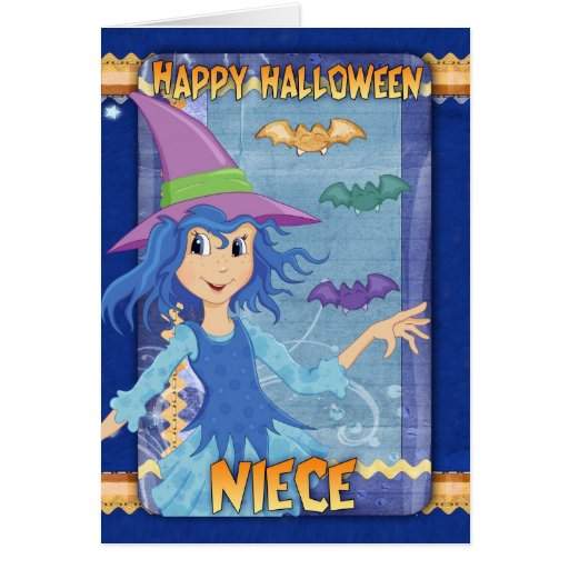 tarjeta de felicitación de Halloween de la sobrina