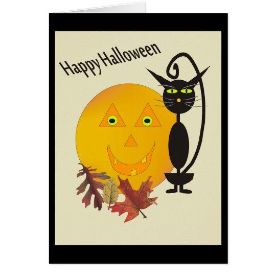 Tarjeta de felicitación de Halloween del gato