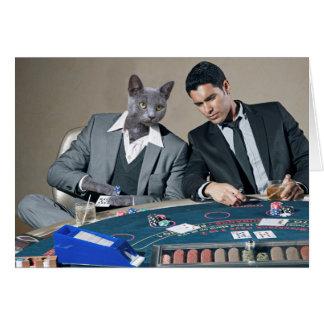 Tarjeta de felicitación de juego del gato de