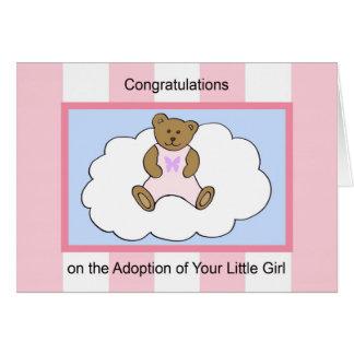 Tarjeta de felicitación de la adopción del chica