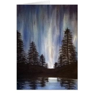 Tarjeta de felicitación de la aurora del bosque