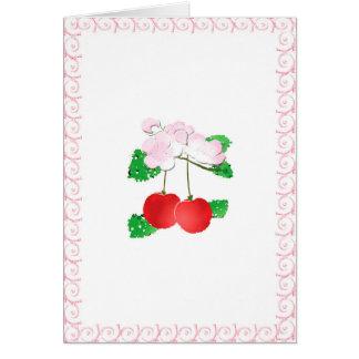 Tarjeta de felicitación de la cereza