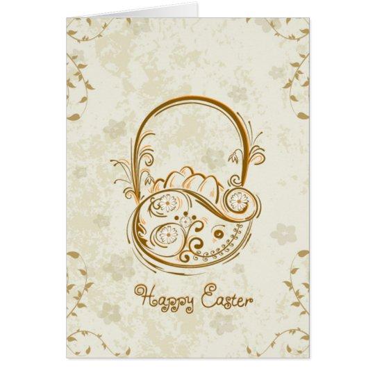 Tarjeta de felicitación de la cesta de Pascua del