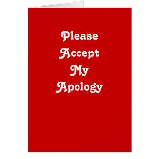 Tarjeta de felicitación de la disculpa