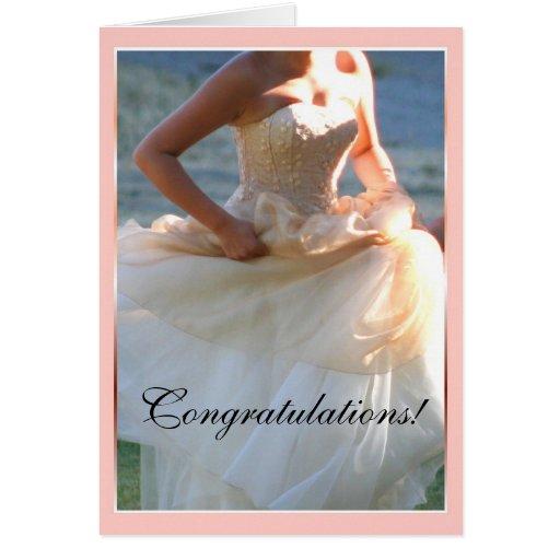 Tarjeta de felicitación de la enhorabuena del boda