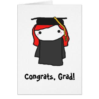 Tarjeta de felicitación de la graduación del chica