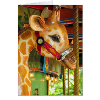 Tarjeta de felicitación de la jirafa del carrusel