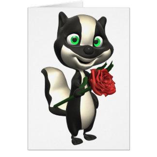Tarjeta de felicitación de la mofeta y del rosa